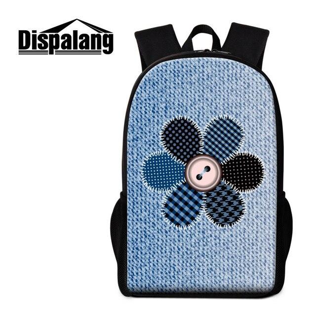 4c3cd9d8f30c Dispalang Flower Print Mens Backpacks Denim Pattern Women School Bags For  Teenagers Student Shoulder Book Bags