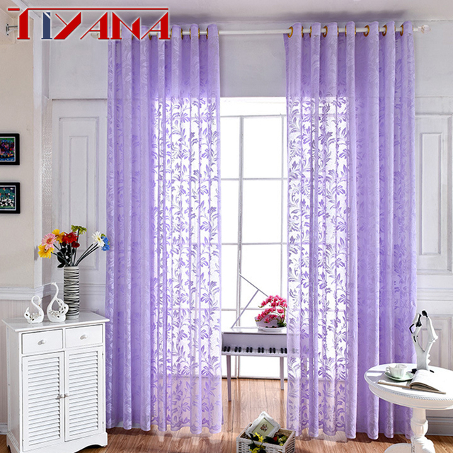 Bon Purple Window Curtains Embroidered Leaves Lace Sheer Curtain For Living  Room Purple White Tulle Drapes For