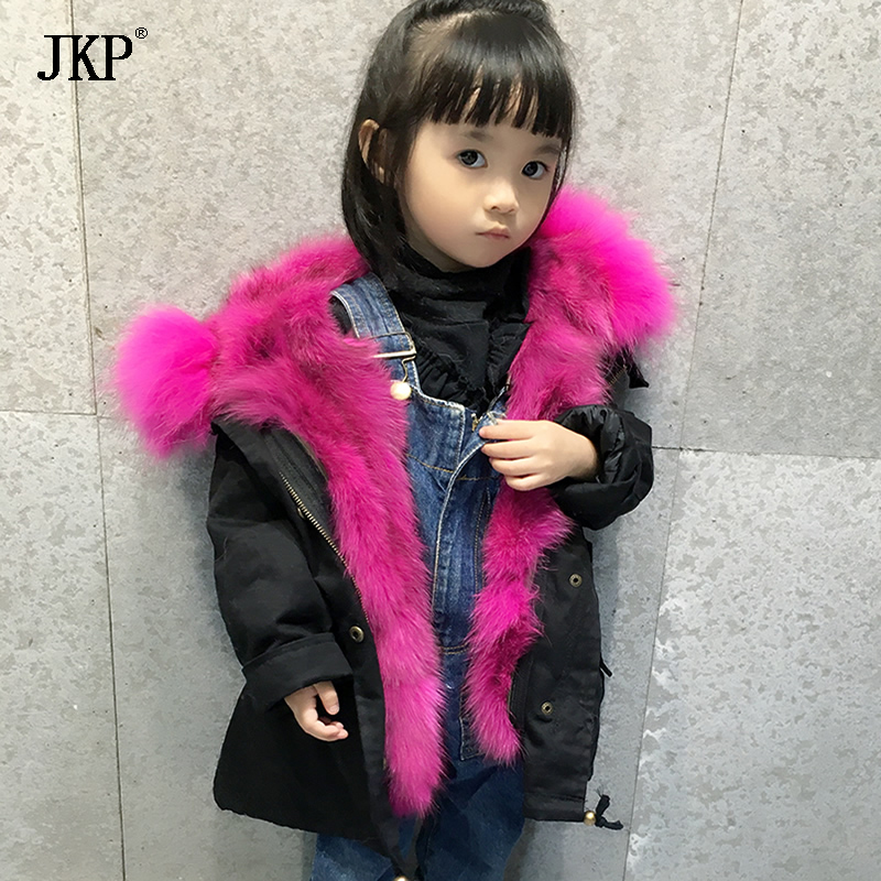 child Real Fox fur Jacket Winter Kids Natural Fox Fur Lining Parka Coat Baby Raccoon Fur Collar Coat boy girls Parka