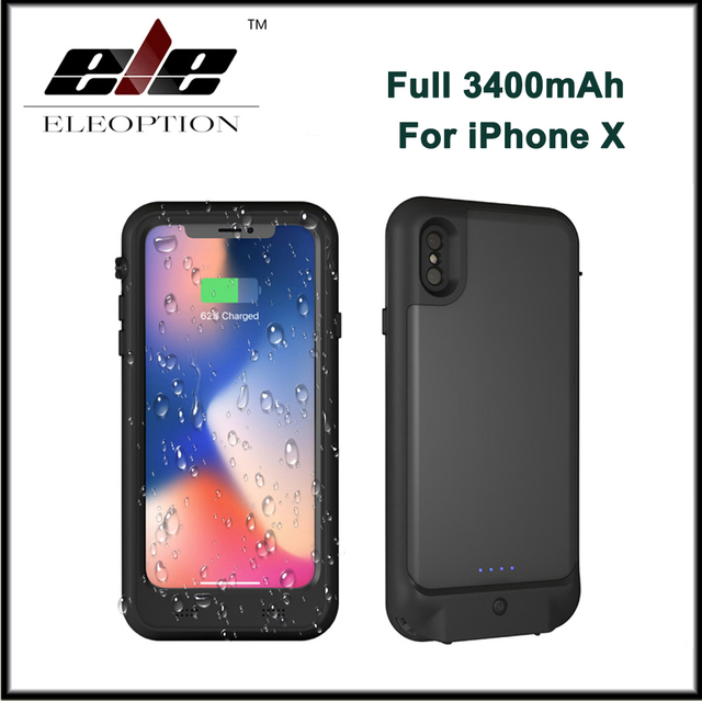 newest 0e9b1 a68e7 US $45.99 20% OFF|Full 3400mAh Waterproof Screen Protector Rechargeable  Power Charger Case Extended Battery Charging Case for iPhone X-in  Replacement ...