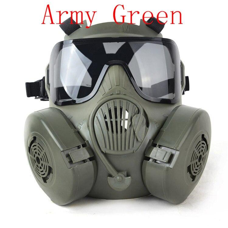Livraison gratuite Tactial M50 Airsoft masque adultes Paintball visage complet crâne gaz CS masque avec ventilateur 22.5*17.5 cm Tan/noir/vert