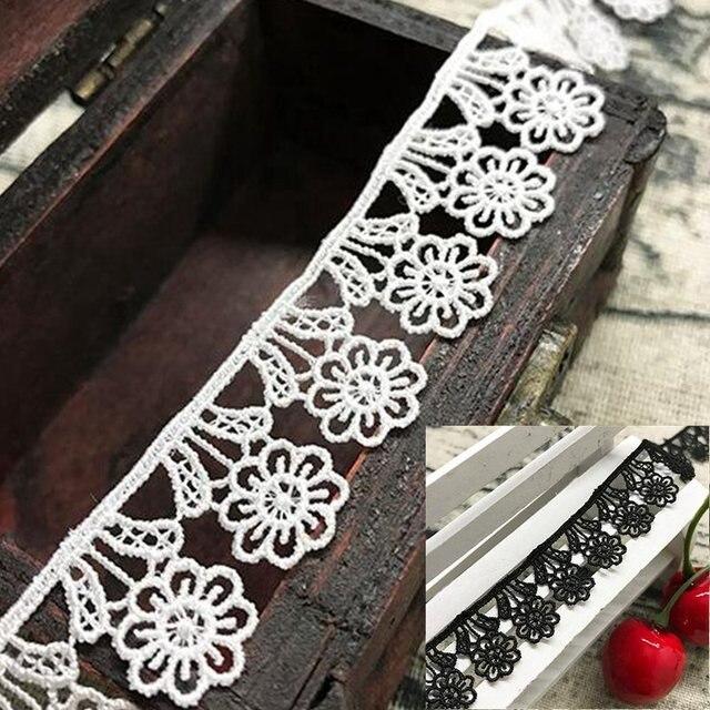 2 Yards Lot Sun Flower Lace Trim Black White Weaving Sewing Crafts Child Dress  Ribbon Trimmings Scrapbooking Patchwork Applique 52d275e3cf51