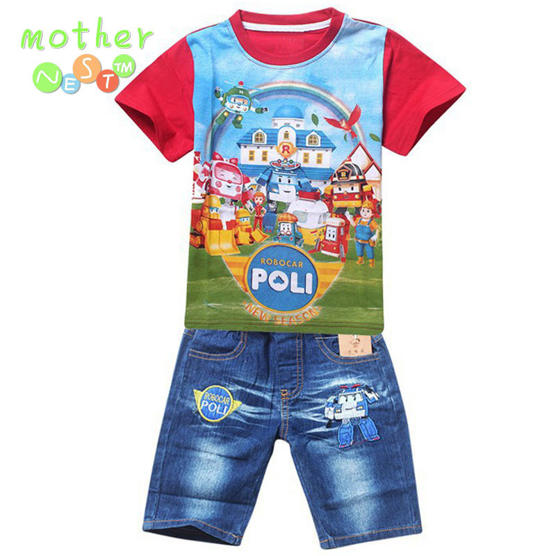 Hot New 2017 Summer POLI ROBOCAR Children Boys Clothing Sets Baby Kids Suitst Shirt Jeans Shorts