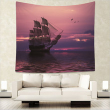 Sea Tapestries Ocean Wall Hanging Ferry Sunset Snow Mountain Tribe Decoration Forest Bedspreads Spray150Cm Woven Dropship
