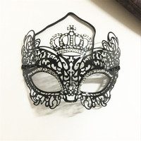 Steelmaster Victorian Queen Crown Eye Mask Costume Ball Venetian Masque Party Half Face Mask Women Metal Halloween Cosplay Mask