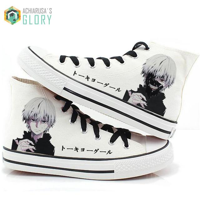 Regalo de navidad 2016 del resorte Hombres mujeres casual zapatos de la impresión zapatos de lona zapatillas Japonés anime de Tokio Ghoul