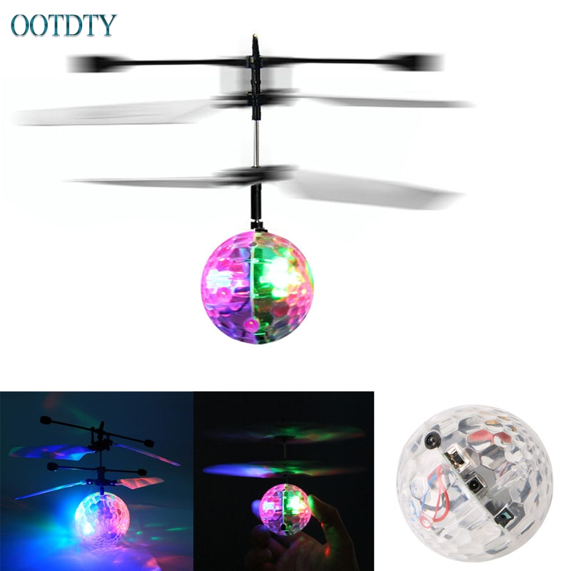 Hot Selling Flash Flying Ball Infrared Induction Colorful LED Disco RC Helicopter kids Toy #330