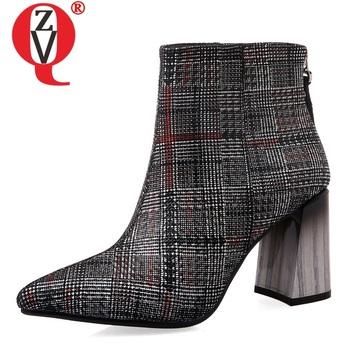 ZVQ women shoes 2019 winter new fashion pointed toe genuine leather ankle boots outside high heels zip work shoes drop shipping