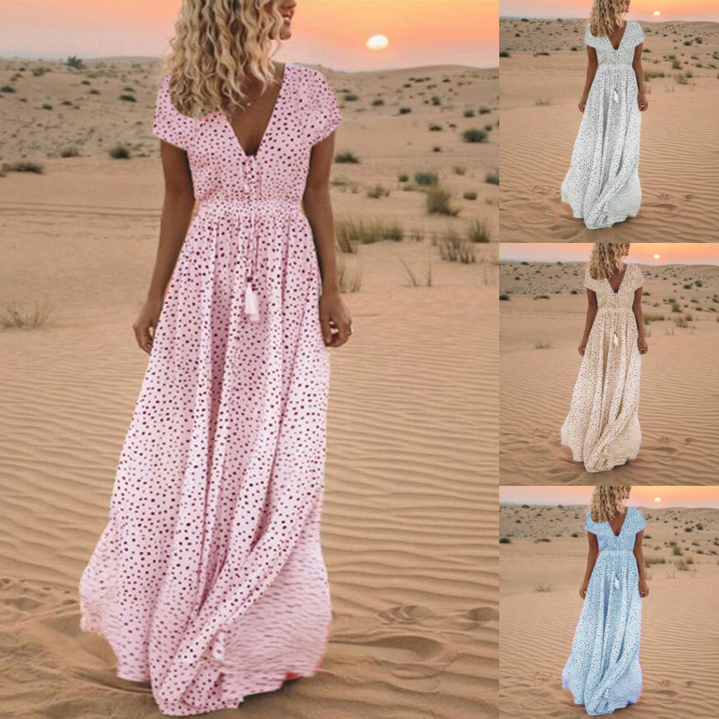 Women Summer Fashion Short Sleeve Dot Print Tassels V Neck Long Dress Beach Maxi Empire Ladies Dress Wholesale Free Ship Z4