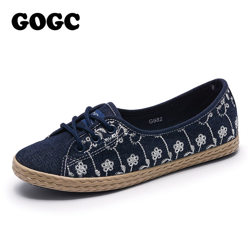 GOGC Brand 2018 Women Slip on Shoes Ladies Footwear Spring Summer Shoes Woman Flat Soft Design Shoes Women Luxury Women Sneakers gogc 2018 new floral denim slipony women breathable shallow shoes footwear flat shoes women fashion sneakers women summer spring