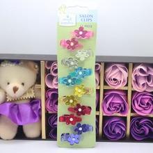 12 Pcs/ set floral hair clips mini glitter plastic hair claw clips girl's fashion salon clips hair pins hair accessories