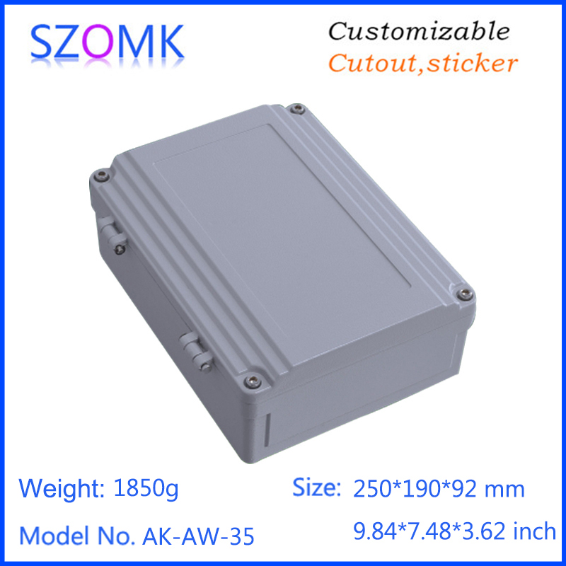 1 piece, 250*190*92mm szomk waterproof aluminum die casting electronic junction box aluminum device housing 4pcs a lot diy plastic enclosure for electronic handheld led junction box abs housing control box waterproof case 238 134 50mm