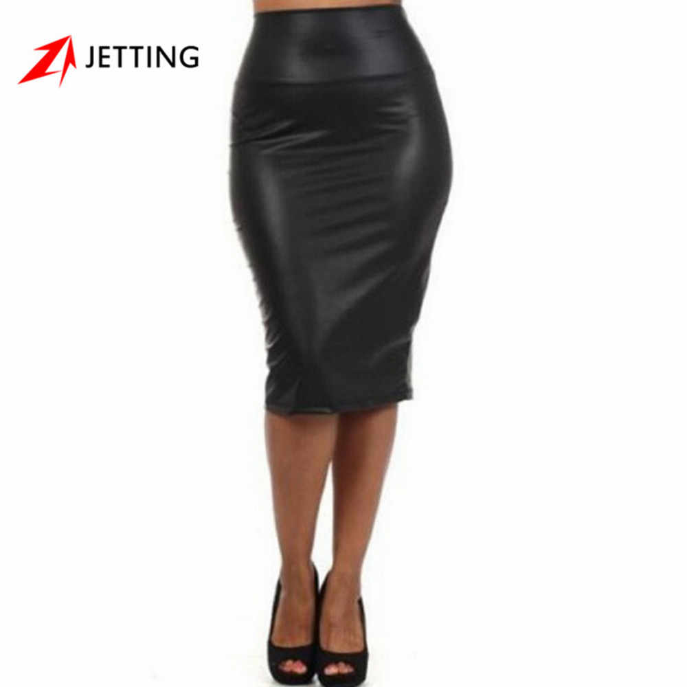 90bcd8e1d1 JETTING-Sexy Club Vintage Bodycon Midi Skirt jupe faldas Plus size Winter  Autumn Women PU