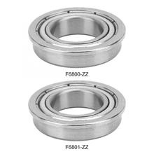 10Pcs/set  F6800-ZZ/F6801-ZZ Flange Ball Bearing Deep Groove  Double-sided Seal Flanged Pulley Wheel 10pcs f625 2z f625zz f625zz f625 zz flanged flange deep groove ball bearings 5 x 16 x 5mm free shipping for 3d printer