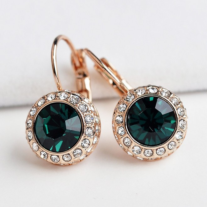 Austrian Green Moon River Crystal Stud Earrings for women Brincos grandes Silver ( pair) earring Ohrringe silver-jewelry