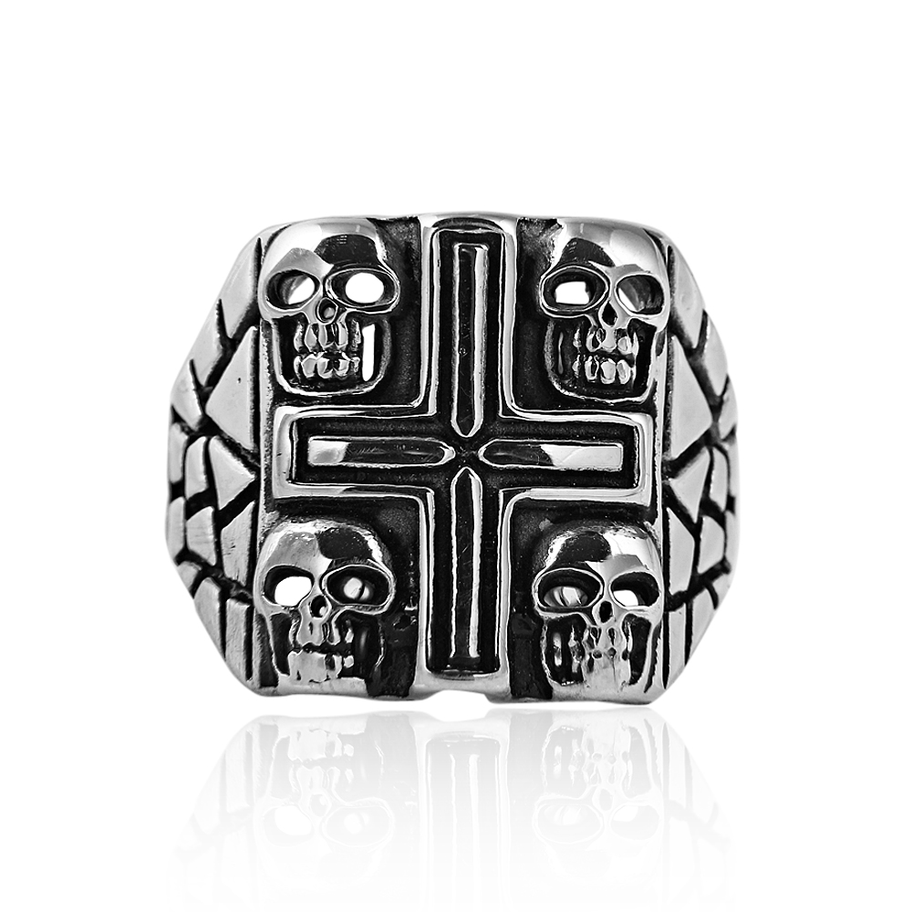 Vonjovani accessories shop Store High quality large size 316 Titanium Steel silver plated jesus cross Letter bible wedding band ring for men women