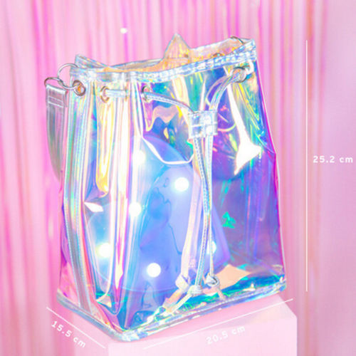 Sweet Teenage Girl Crossbody Shoulder Bag Hologram Shine Leather Laser Bag Holographic Bag