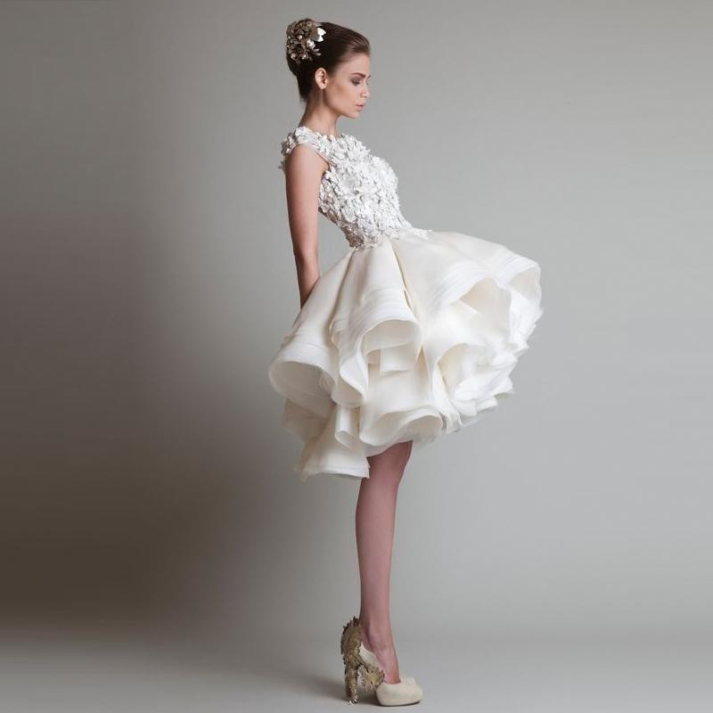 2016 White Cocktail Dresses Jewel Sleeveless Appliques Sexy Back Short Tutu Tulle Skirts Mini Evening Ball Gowns Formal Party Dresses149