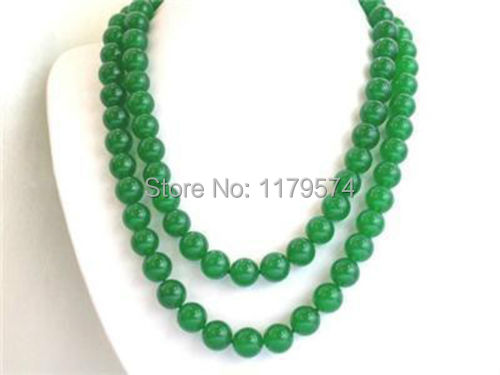 "Beautiful! Hot new fashion Nice Elegant Long 35"" 8mm green jade round beads jaspers necklace  W0438"