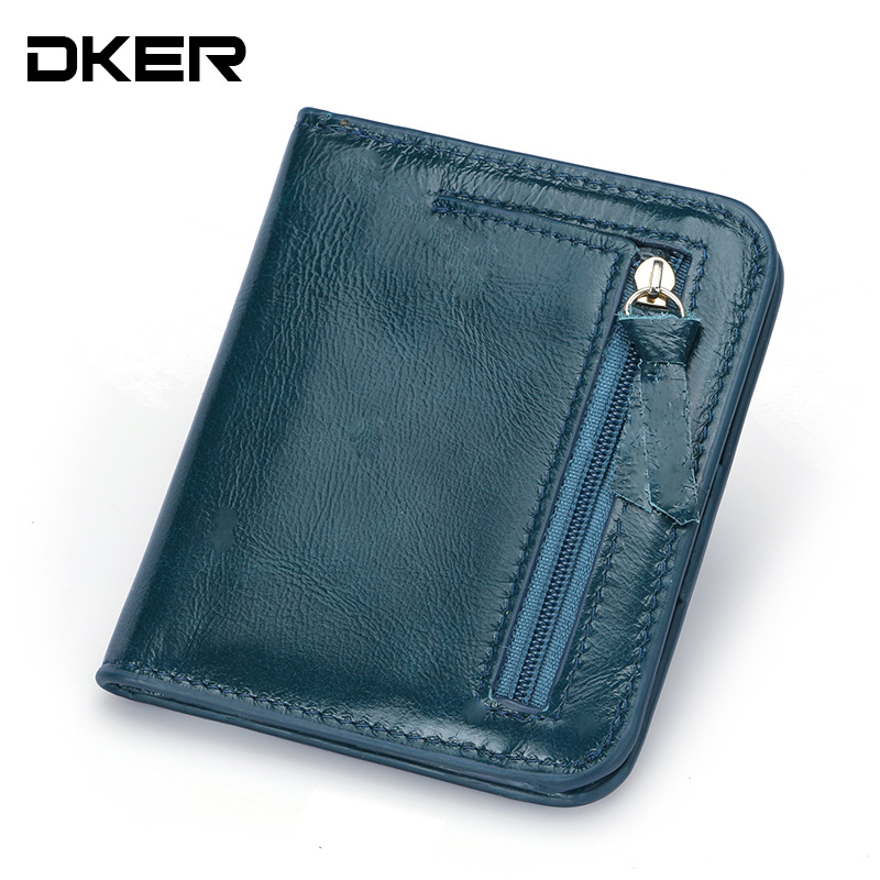 DKER Fashion Genuine Leather Wallet Women Short Small Woman Wallet High Quality Real Leather Women Purse with Coin Pocket