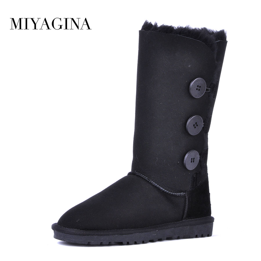 High Quality 100% Natural Fur snow boots Genuine sheepskin leather Women Boots Winter warm Wool High boots de la chance winter women boots high quality female genuine leather boots work