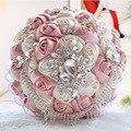 Mejores Ventas de Marfil Rosa Rosa Broche Ramo de La Boda Ramos de Novia Ramo de mariage de Poliéster Perla Flores buque de noiva
