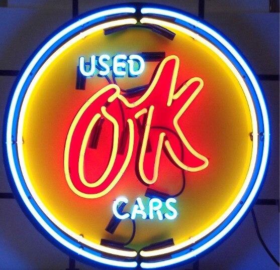 Custom OK Used Cars Neon Light Sign Beer Bar