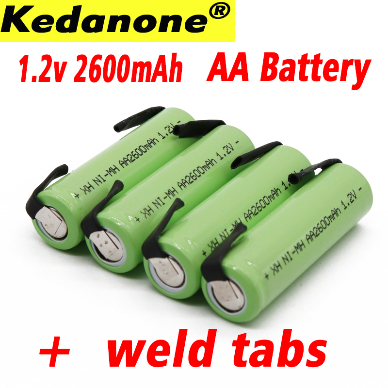 Ni-mh V 1.2 in AA rechargeable battery 2600 mAh nimh cell green case with welding inserts for Philips electric shaver razor toot