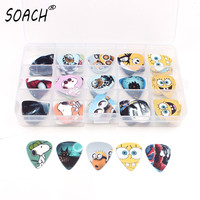 A Lot Of Kinds 100pcs 15grids Rock Band Cartoon Guitar Picks Mix Plectrums Clear Makeup Draw