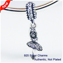 9cdbd9a0c35 Fits for Pandora Bracelets Ballerina Charms with Clear Cubic Zirconia 100%  925 Sterling Silver Beads