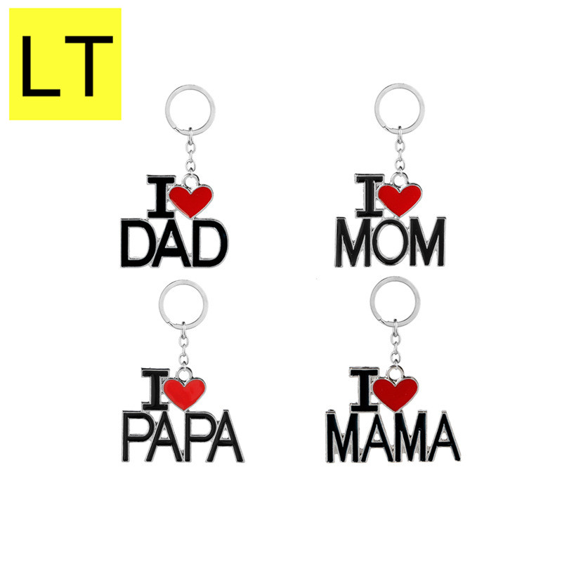Family MAMA PAPA Metal Keychain For Women Girls Mother Fathers I Love Day MOM DAD Keyrings Valentine S Gift Accessories Q-020