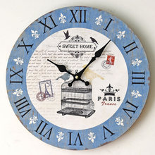 "New Simple Birdcage ""SWEET HOME"" Wooden Wall Clock Nostalgic Home Quartz Electric Clocks Paris Shabby Rustic Art"