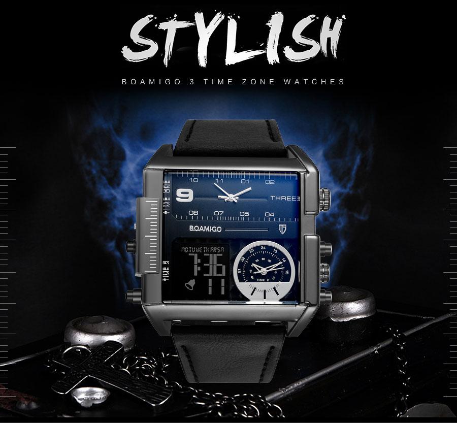 HTB1FiqGl8jTBKNjSZFNq6ysFXXah BOAMIGO brand men sports watches 3 time zone big man fashion military LED watch leather quartz wristwatches relogio masculino