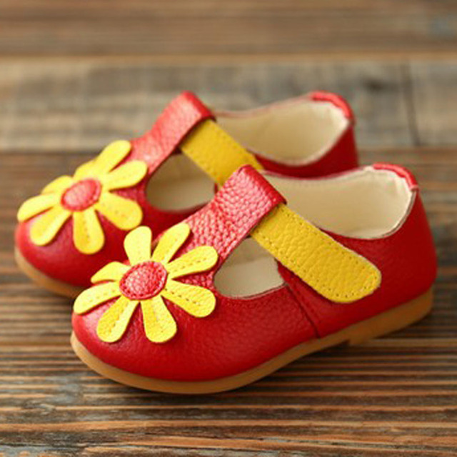 2017 Autumn Genuine Leather Baby First Walkers T-Tie Toddlers Girls Shoes T Strap Kids Girls Shoes Flower Children Leather Shoes