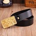Dragón Diseñador Cinturones de Marca de Lujo para Hombre de Cuero Genuino Masculino Jeans Vintage Moda De Latón Macizo Hebilla de Correa de La Cintura Negro
