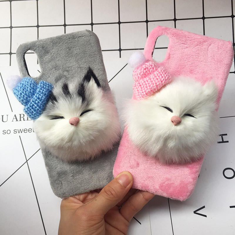 Christmas Hat Cute Cat Fluffy Fur Phone Case For iPhone X Plush Hair Lovely Plush Hard Case For iPhone 8 Plus 7 6s Plus Coque (1)