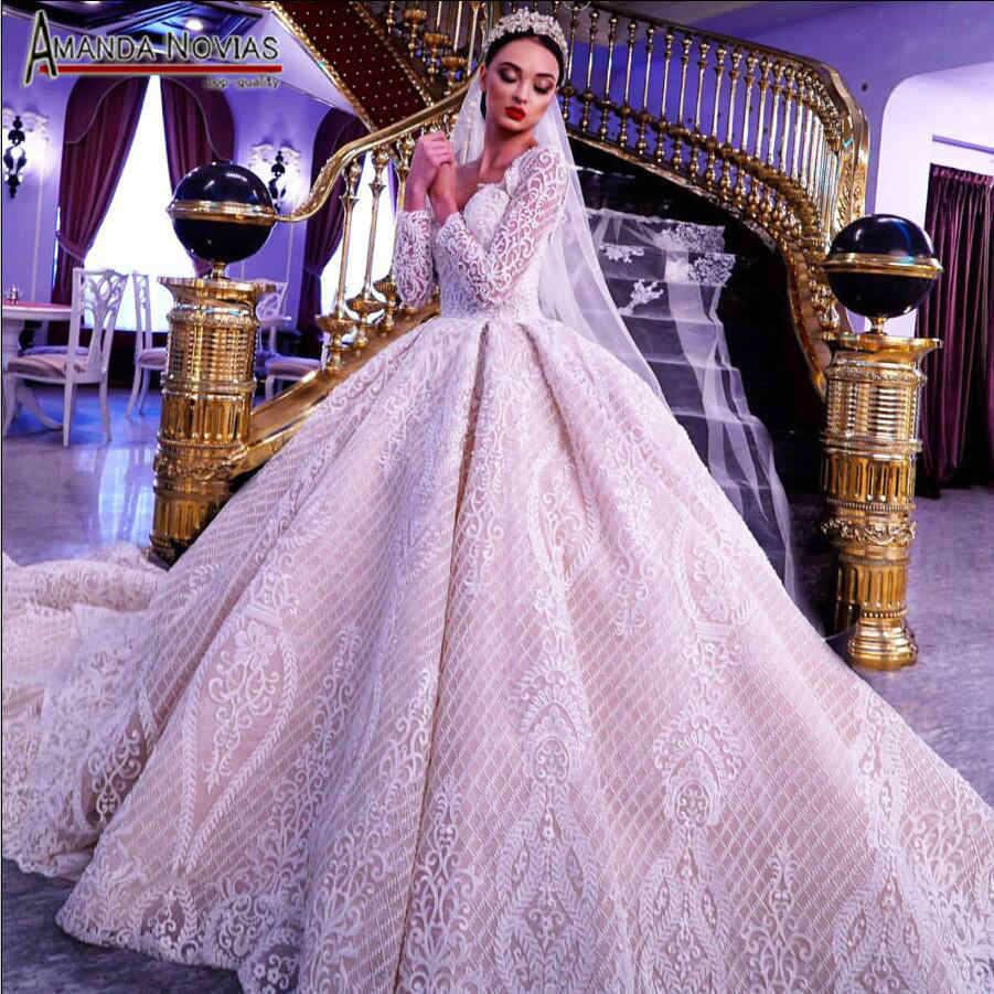 Stunning luxury robe de mariee 2019 wedding dress full beading lace with long sleeves
