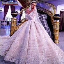 فستان زفاف مذهل فاخر de mariee 2020 مطرز بالكامل بالدانتيل بأكمام طويلة