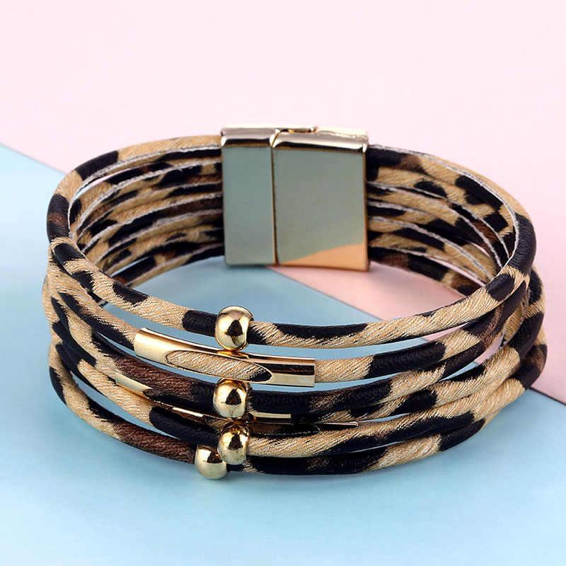 VKME fashion leopard leather bracelet ladies bracelet and bracelet 2019 fashion elegant boho multi-layer wide bracelet gift