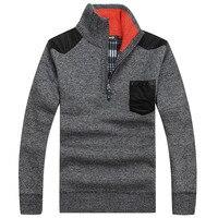 Big Size 3xL Warm Thick Velvet Cashmere Sweaters Men Winter Pullovers Zipper Mandarin Collar Man Casual