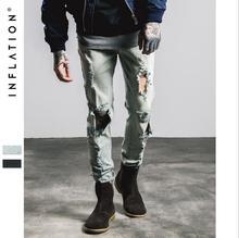 Уличной Моды Стиль мужская Хорошее Качество Большие Отверстия Джинсы Новый Мужской Хлопок Голубой Тонкий Полная Длина Джинсы Прохладный джинсы