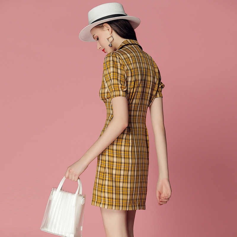 Модное Элегантное женское платье лето новый темперамент винтажный костюм воротник двубортное клетчатое платье милое тонкое платье с рукавами CK476