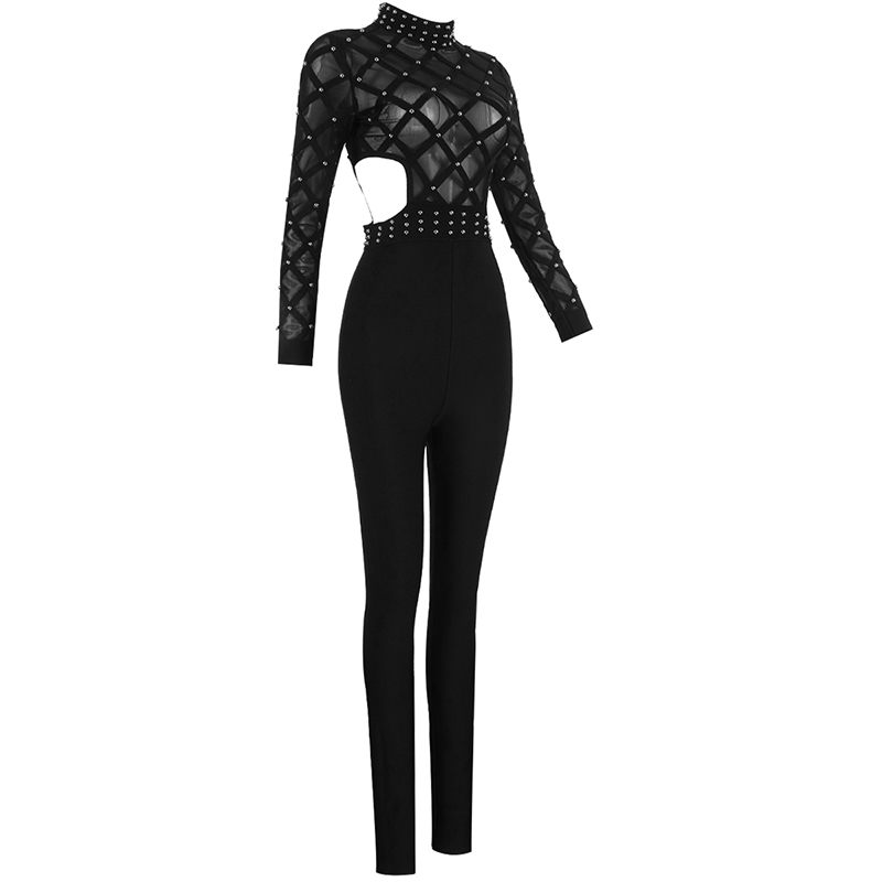 New Designer Sext Perspective Bead Party Jumpsuits Elegant Long Sleeve Striped Cross Lady Bosysuit Long Skinny Bandage Jumpsuit - 4