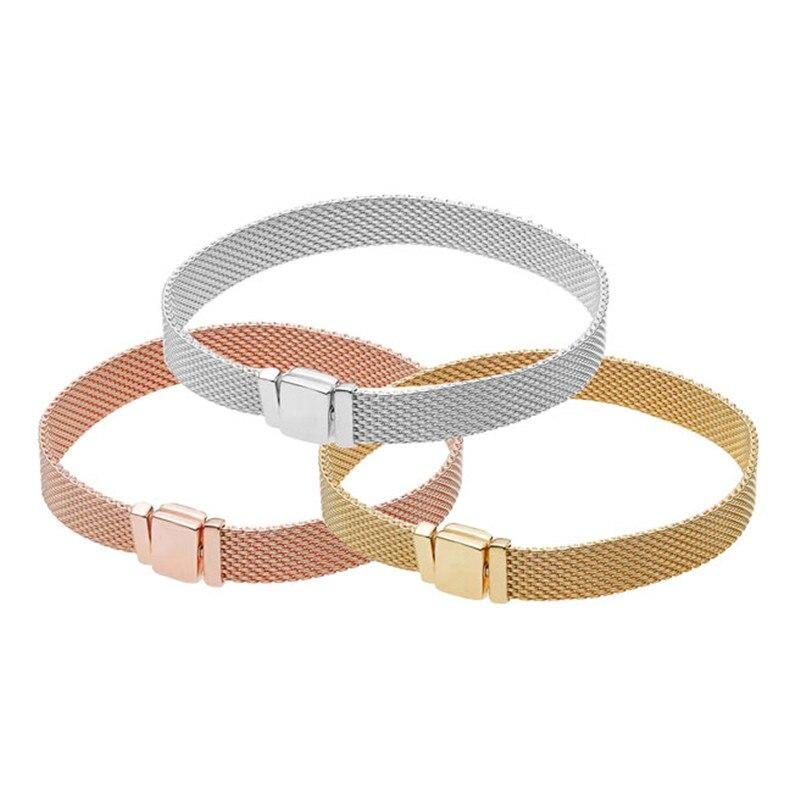 2018 New Original 925 Sterling Argent Réflexions Bracelet Fit Pandora Beacelet Clip Perle de Charme DIY Faire Des Bijoux Pour Femmes
