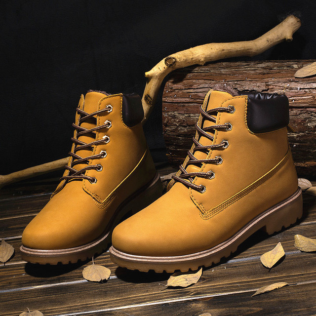New Big Size PU Leather Men Boots Autumn and Winter Man Shoes Ankle Boot Men's Snow Shoe Martin Cowboy Man Fur Velvet Flats