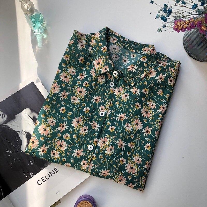 Femmes hauts et chemisiers 2019 imprimer à manches longues col rabattu chemise de bureau Blouse dame chemises Chic hauts Blusas Chemisier Femme - 5