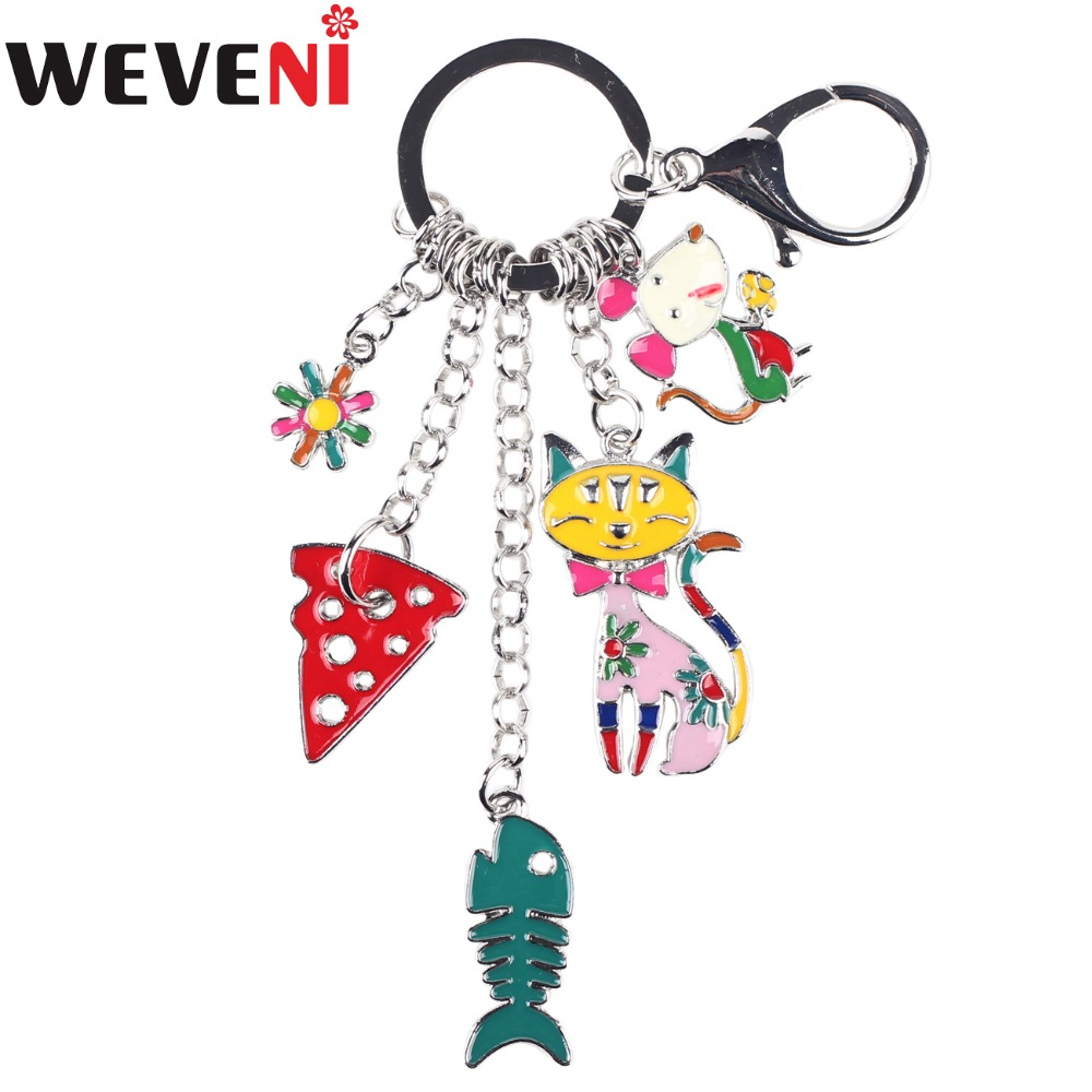 WEVENI Enamel Metal Cat Mouse Fish Strawberry Hangs Key Chain Key Ring For Women Keychain Accessories New Fashion Jewelry