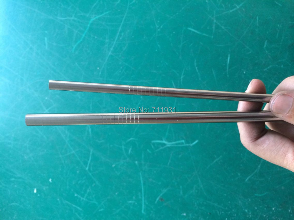 WOWSHINE Free shipping 20pcs/lot Metal drinking straw stainless steel straw food grade 8MM*0.55MM*242