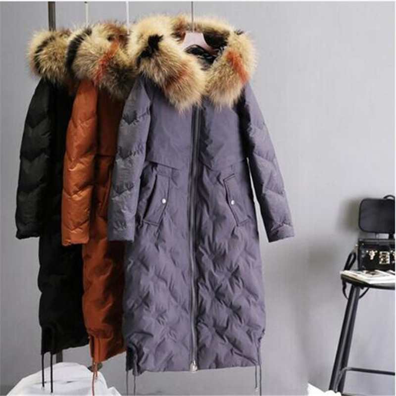 2018 Real Hot Sale Long Sleeve Zipper Collar Fashion Luxury Thin Female Medium-long   Down     Coat   Cloak A Slim Skirt Duck Outerwear