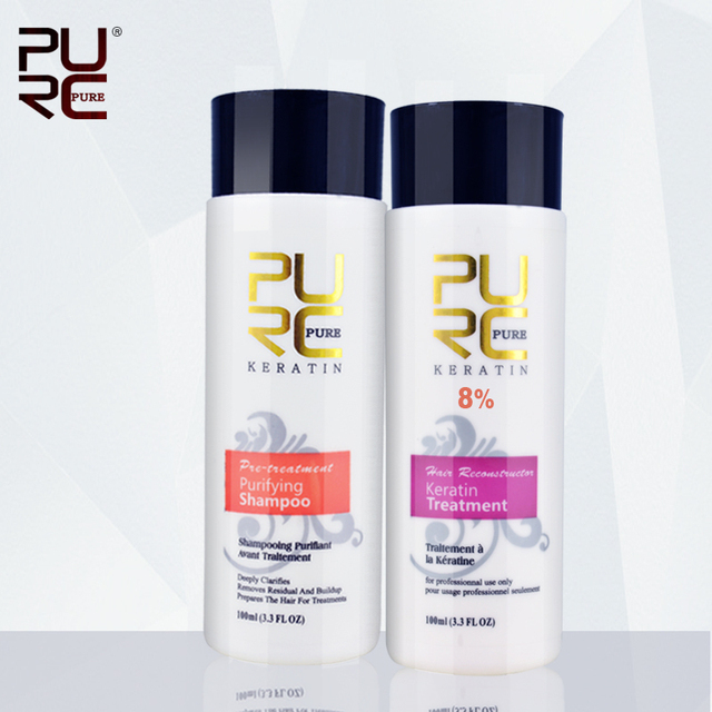 Purc chocolate brasileño de la queratina formalina tratamiento 8% plancha de pelo set para cabello dañado 2015 mejor cuidado del cabello producto